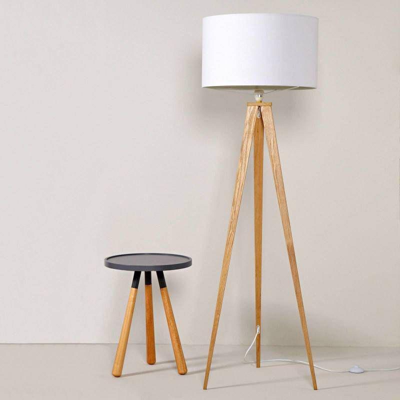 vloerlamp tripod hout textiel zuiver. Black Bedroom Furniture Sets. Home Design Ideas